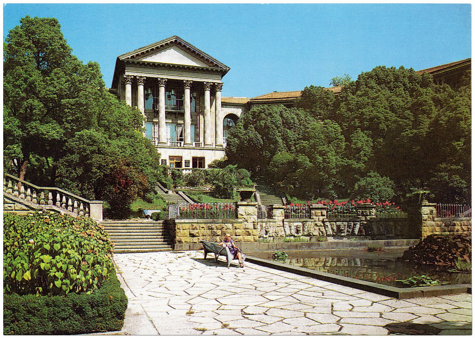 Metallurg, on Kurortny Prospekt, is one of Sochi's most famous sanatoria. Built to accommodate metalworkers, it is located next to the enormous Red Army sanatorium and Ordzhonikidze, the sanatorium for miners. Postcard of Sochi, Russia, 1980s.